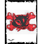 Logo Queen of Darkness Large Red Kitty & Crossbones