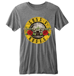 Camiseta Guns N' Roses para homens Burn-out, Bullet Logo