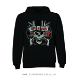 Guns N' Roses, Homem, Hooded Top: Distressed Skull