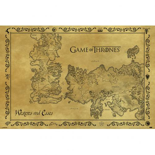 Póster Jogo do POder Soberano (Game of Thrones) Antique Map 211