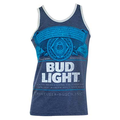 Camiseta de suspensórios Bud Light Bottle Logo