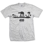Camiseta Star Wars de homem - Design: Rogue One AT-AT Silhouette Line Art