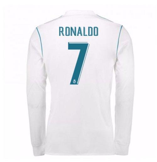 e998fce12a35f Camiseta Manga Longa 2017 18 Real Madrid 2017-2018 Home de criança (Ronaldo