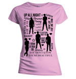 Camiseta One Direction de mulher - Design: Silhouette Lyrics Black on Pink