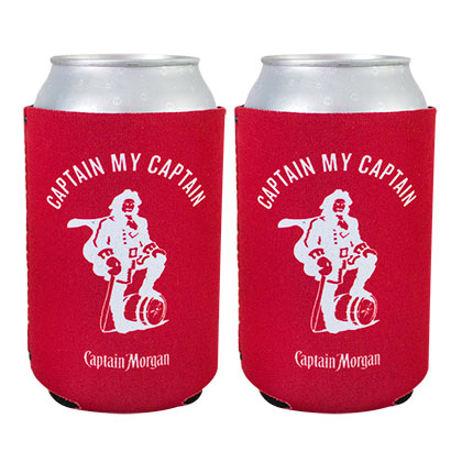 CAPTAIN MORGAN Red Beer Can Cooler Conjunto De 2