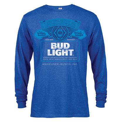BUD LIGHT Label manga comprida masculina Heather Blue TShirt