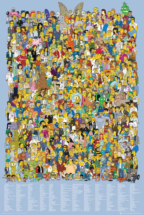 Póster Os Simpsons Cast 2012